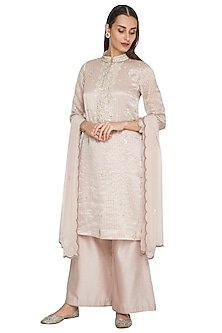Nude Embroidered Kurta Set by Jyoti Sachdev Iyer