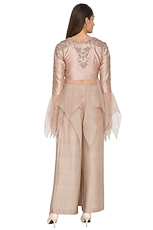 Nude Embroidered Crop Top With Pleated Pants by Jyoti Sachdev Iyer