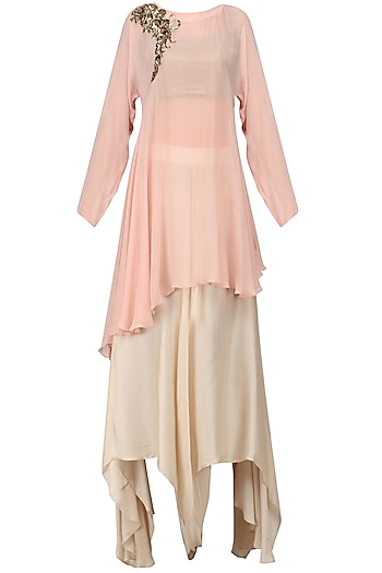 Blush Pink Embroidered Drape Tunic with Ivory Flared Pants by Jyoti Sachdev Iyer