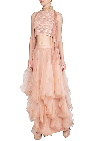 Blush Pink Embellished Lucknowi Blouse With Layered Skirt by Jyoti Sachdev Iyer