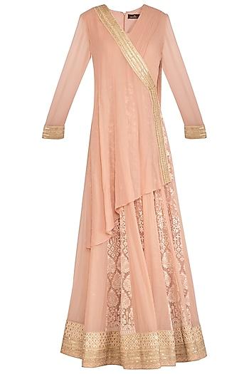 Blush Pink Angrakha Lucknowi Kurta With Skirt by Jyoti Sachdev Iyer