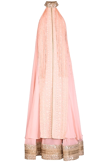Blush Pink Embellished Halter Anarkali With Churidaar Pants by Jyoti Sachdev Iyer