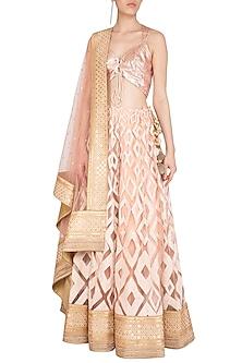 Pink Embellished Geometric Lehenga Set by Jyoti Sachdev Iyer