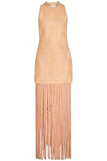 Beige Tassel Embellished Dress by Jyoti Sachdev Iyer