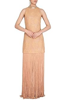 Beige Tassel Embellished Dress by Jyoti Sachdev Iyer