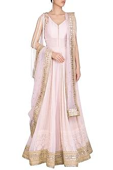 Pink Embellished Angrakha Anarkali Set by Jyoti Sachdev Iyer
