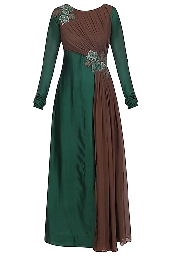 Emerald Green and Gunmetal Floral Embroidered Drape Tunic by Jyoti Sachdev Iyer