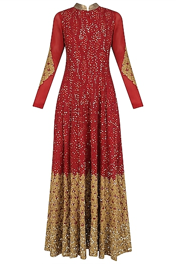 Red and Gold Sequins and Zari Work Anarkali Set by Jyoti Sachdev Iyer