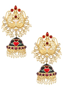 Gold Finish Peacock Jhumki Drop Earrings by Just Shraddha