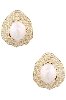Gold Finish Crystals And Pearl Stud Earrings by Just Shraddha