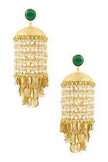Gold Finish Pearl Chandelier Earrings by Just Shraddha