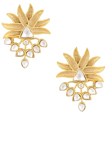 Gold Finish Stone Studded Flower Earrings by Just Shraddha