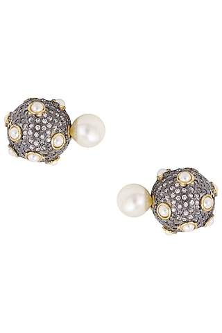 Gunmetal Finish Pearl Double Sided Earrings by Just Shraddha