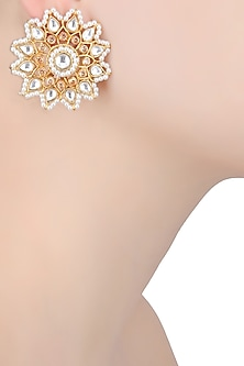 Gold Finish Pearl and Stone Flower Stud Earrings by Just Shraddha