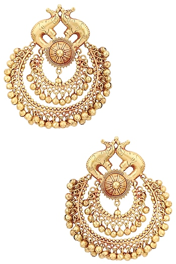 Gold Plated Elephant Carving Chandbali Earrings by Just Shraddha