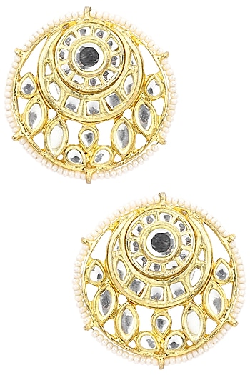 Gold Plated Kundan and Pearls Stud Earrings by Just Shraddha