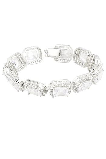Silver Plated Swarovski Bracelet by Just Shraddha