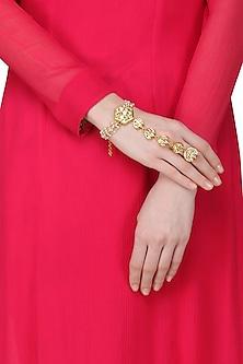 Gold Plated Pearls and Kundan Haath Phool by Just Shraddha