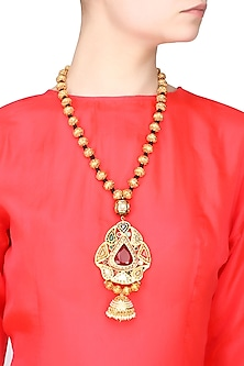 Gold finish single string necklace with navratan pendant by Just Shraddha