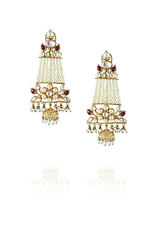 22k gold finish 7 liner pearl jhalar earrings by Just Shraddha