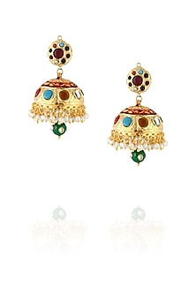 22k gold finish navratan jhumki earrings by Just Shraddha