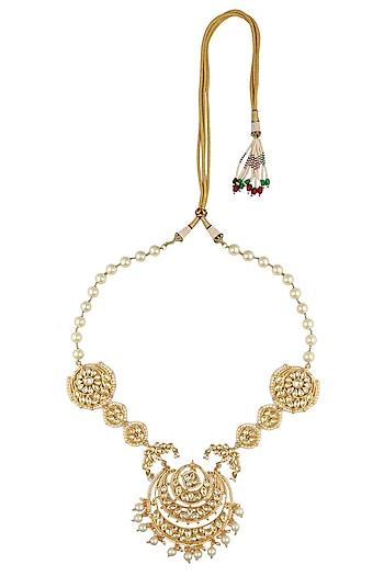 Kundan studded chandbali pearl string necklace by Just Shraddha