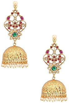Gold Finish Semi Precious Stone Jhumki Earrings by Just Shraddha