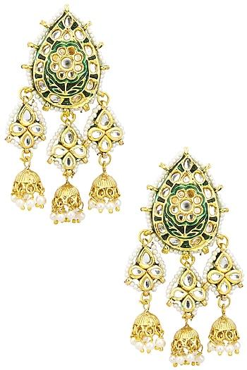 Gold Finish Kundan Earrings by Just Shraddha