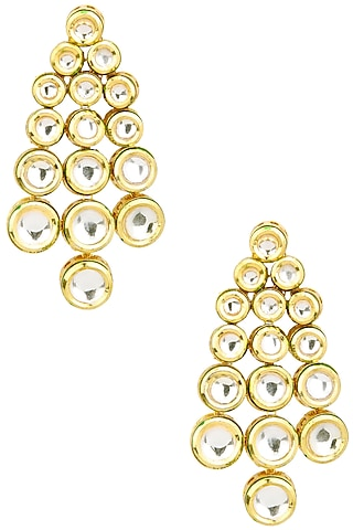Gold Finish Polki Stones Earrings by Just Shraddha