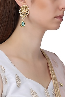 Gold Finish Emerald Stone and Pearls Earrings by Just Shraddha