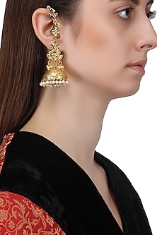Gold Finish Kundan and Pearls Earrings by Just Shraddha