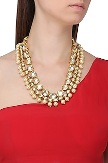 Gold Finish Polki Stone and Pearls Necklace by Just Shraddha