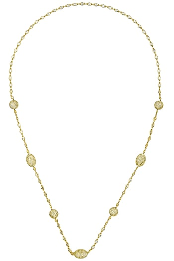 Gold Finish Zircons Necklace by Just Shraddha