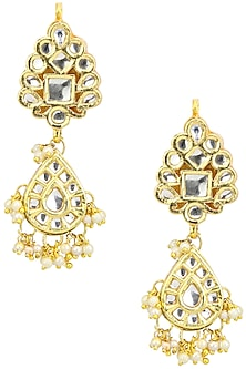 Gold Finish Kundan and Baby Pearls Earrings by Just Shraddha