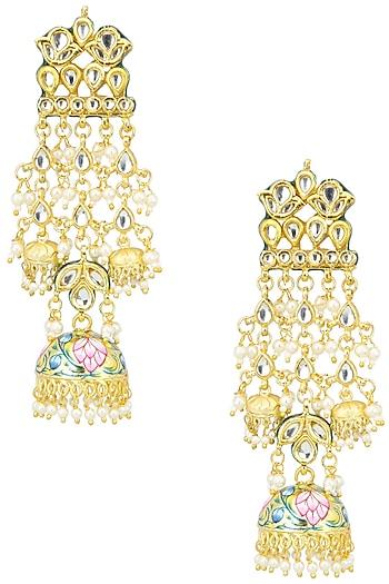 Gold Finish Kundan and Meenakari Earrings by Just Shraddha