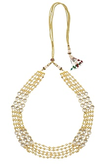 Golden Beads and Kundan Stones Gold Finish String Necklace by Just Shraddha