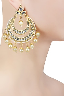 Gold Finish Kundan and Pearl Big Chandbali Earrings by Just Shraddha
