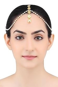 Gold Finish Tear Drop Motifs Pearl Chain Matha Patti by Just Shraddha