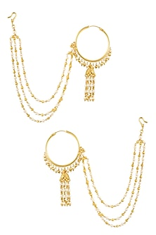Gold Finish Pearl Chain Hoop Earrings by Just Shraddha