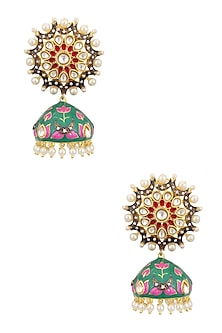 Gold Finish Chandball Jhumkis by Just Shraddha