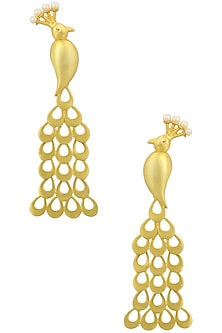 Gold Finish Peacock Dangler Earrings by Just Shraddha