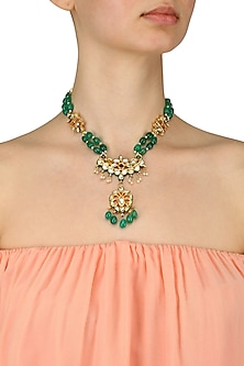 Pearls, Stone and Kundan Studded Long Necklace by Just Shraddha