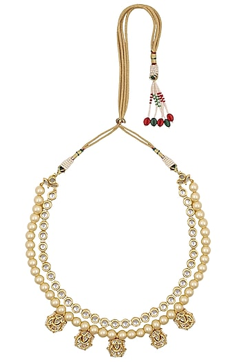 Two Liner Kundan and Pearls Studded Necklace by Just Shraddha