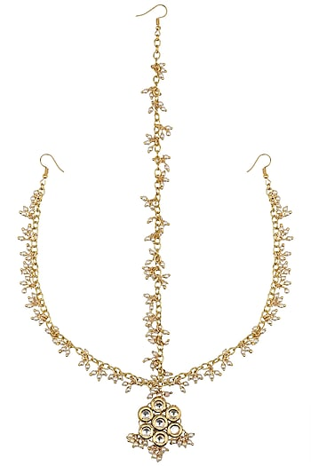 Gold Finish Three String Pearl Matha Patti by Just Shraddha