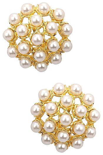 Gold Finish Pearl Studs by Just Shraddha