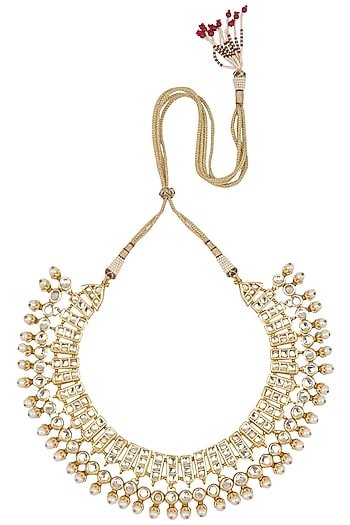 Gold Finish Kundan and Pearl Necklace by Just Shraddha