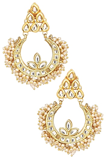 Gold Finish Kundan and Pearl Crescent Earrings by Just Shraddha