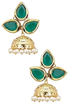 Gold Finish Green Stone and Pearl Earrings by Just Shraddha