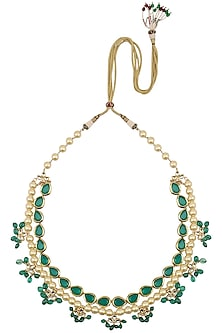 Blue Kundan and Pearl String Necklace by Just Shraddha