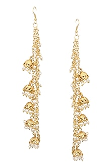 Gold Finish Multiple Chain Jhumki Earrings by Just Shraddha